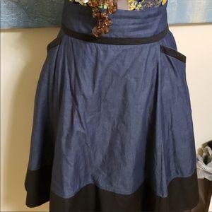 Dark Chambray Skirt w/black Trim size 20w